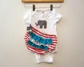 Onesie - Girl Circus Elephent -Ruffle diaper covers gift set - Ruffle bum - Baby
