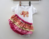 Exotic Elephant - wrap around ruffle diaper covers gift set - bloomers - onesie - outfit