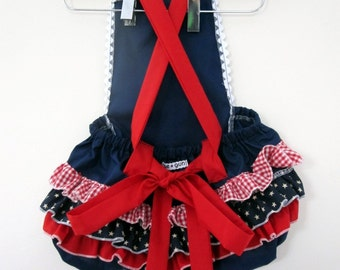Retro Ruffler -Stars and Stripes - Baby girl - Toddler - Jumper - July 4th