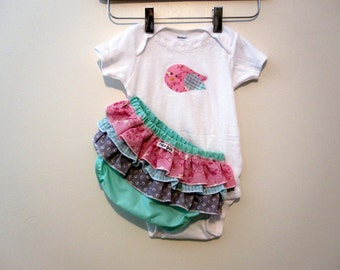 Mermaid Bird -  ruffle diaper covers - onesie - baby - toddler  - bloomers - girl - top - outfit - gift set