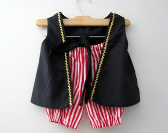 RUSH Pirate Boy Vest Knickers and Sash (red and white knickers pick the color sash)