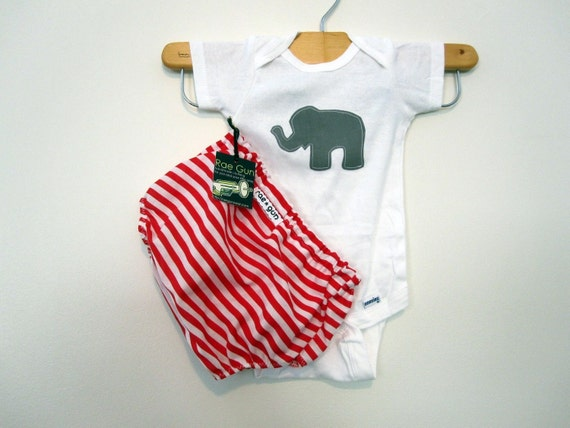 Diaper Cover Set - Animal - Circus - Elephant Theme - Red and White - Boy or Girl - Child - Baby - Clothing
