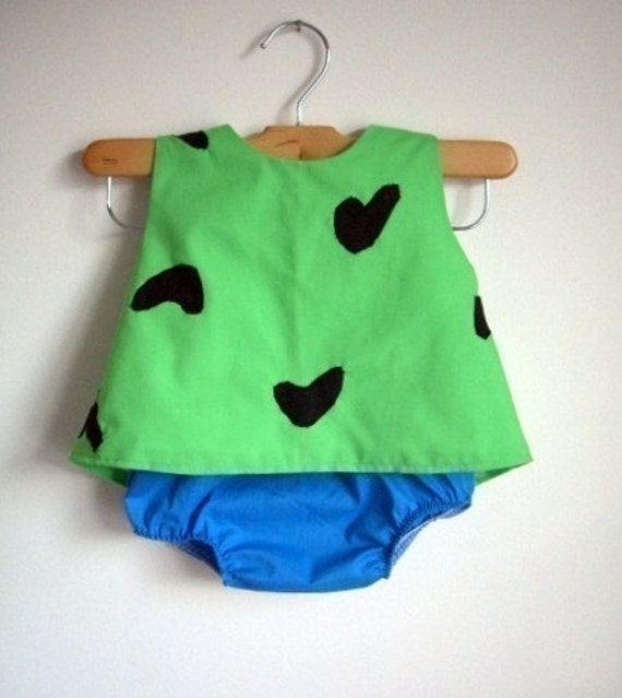 RUSH Pebbles Costume - baby - toddler - girl - Halloween Top and Bottom - raegun