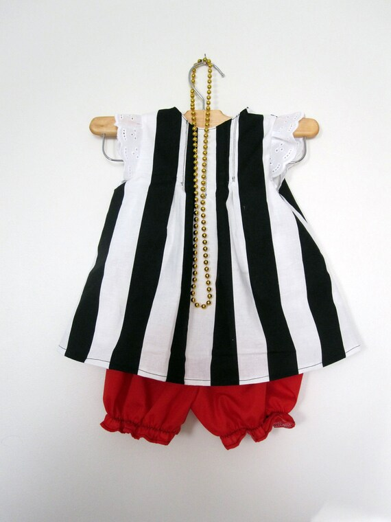 Pirate Girl Costume Tunic and Red Bloomers (discounted for flaws)