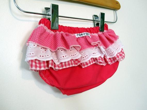 Strawberry Pie - Wrap around ruffle diaper covers 12-24