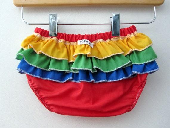 chidrens clothing - Rainbow  -  ruffle bloomers - baby - toddler - girl - rae gun -