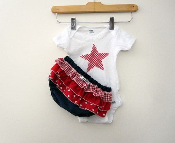 Fourth of July Star - wrap around ruffle diaper covers gift set - Girl - Baby - Bloomers