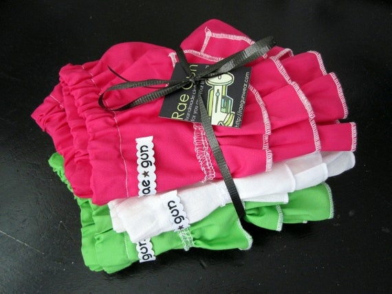 One Hot Pink  ruffle diaper covers - bloomers  - 3 to 6 month  photography prop - ready to ship