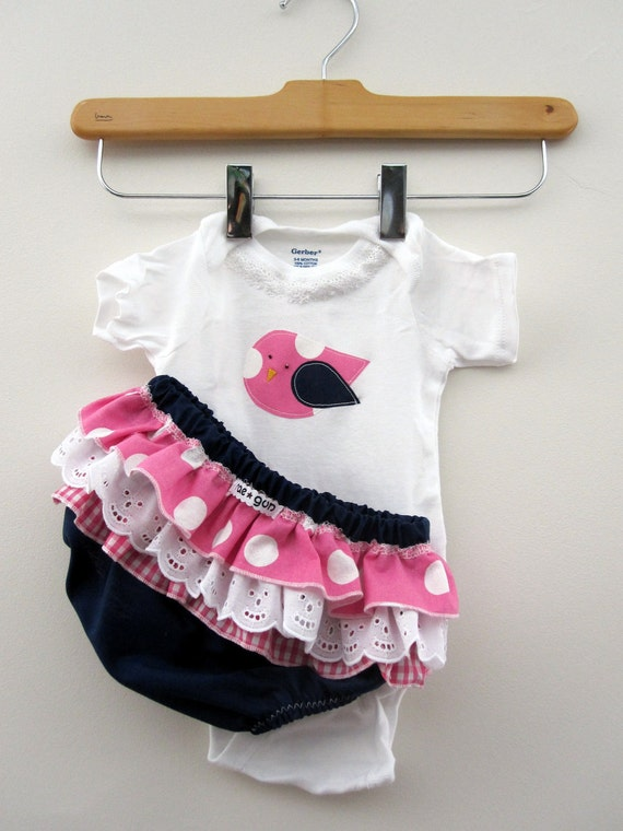 Girls Baby clothes - Onesie With Ruffled Bloomers with Navy and Pink Bird Gift Set