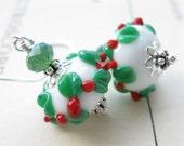 Holly Wreath Lampwork Earrings