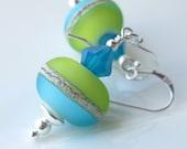 Island breeze Earrings Lampwork and sterling silver