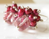 SALE - Cranberry cocktail - Mystic quartz and pearl earrings