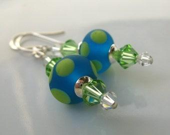 SALE Blue tequilla lime lampwork earrings