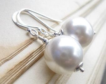 Bride white swarovski pearl earrings