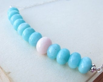 Bubble Gum Pink opal and peruvian blue amazonite necklace October birthday