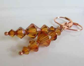 SALE Earrings Crystal copper swarovski Autumn fall dangles