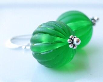 Vintage lucite earrings Winter green christmas ball earrings