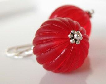 Cinnamon earrings Vintage Lucite red christmas in sterling silver