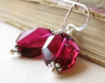 Iced raspberry  earrings swarovski crystal and sterling silver in ruby