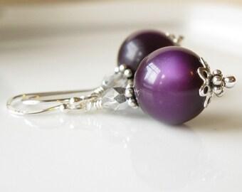 Deep Purple Vintage moonglow earrings