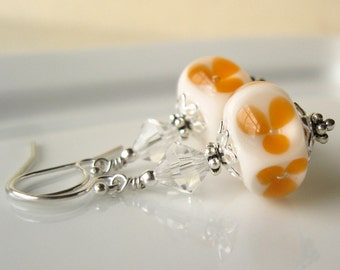 Orange Blossom Boro lampwork earrings in sterling silver