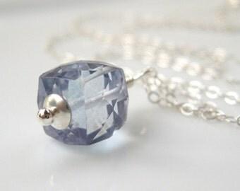 Chill Mystic blue quartz necklace Denim ice blue in sterling silver