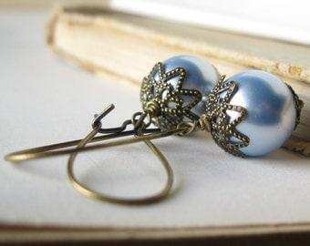 Vintage Bride Earrings Swarovski Aquamarine blue pearls in brass