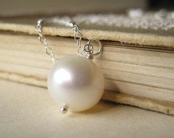 Large Pearl and sterling silver neckalce Huge modern bridal pearl June Birthstone