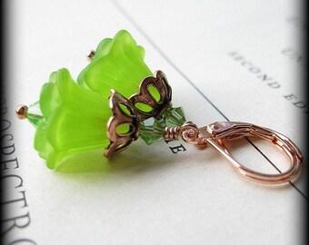 SALE Green apple Blooms Copper earrings
