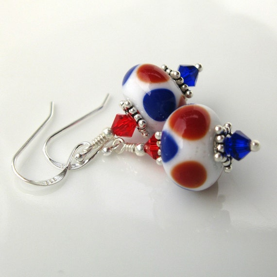 America lampwork earrings