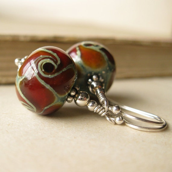 Wild Stone Lampwork glass Earrings in sterling silver