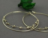 Gold Filled Skinny Hoops with Row of Gold Faceted Beads