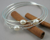 Silver bangles, Sterling Silver 3 Interlocking Bangles with Freshwater Pearls  One Bracelet
