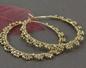 Wire Wrapped Scalloped Large Gold Filled Hoops with Faceted Beads