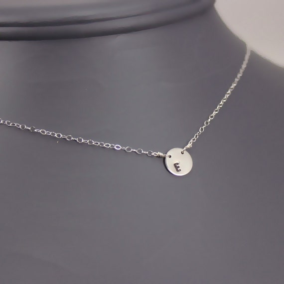 Tiny Initail Sterling Silver Disc Choker with Stamp on the Side (NS12s)