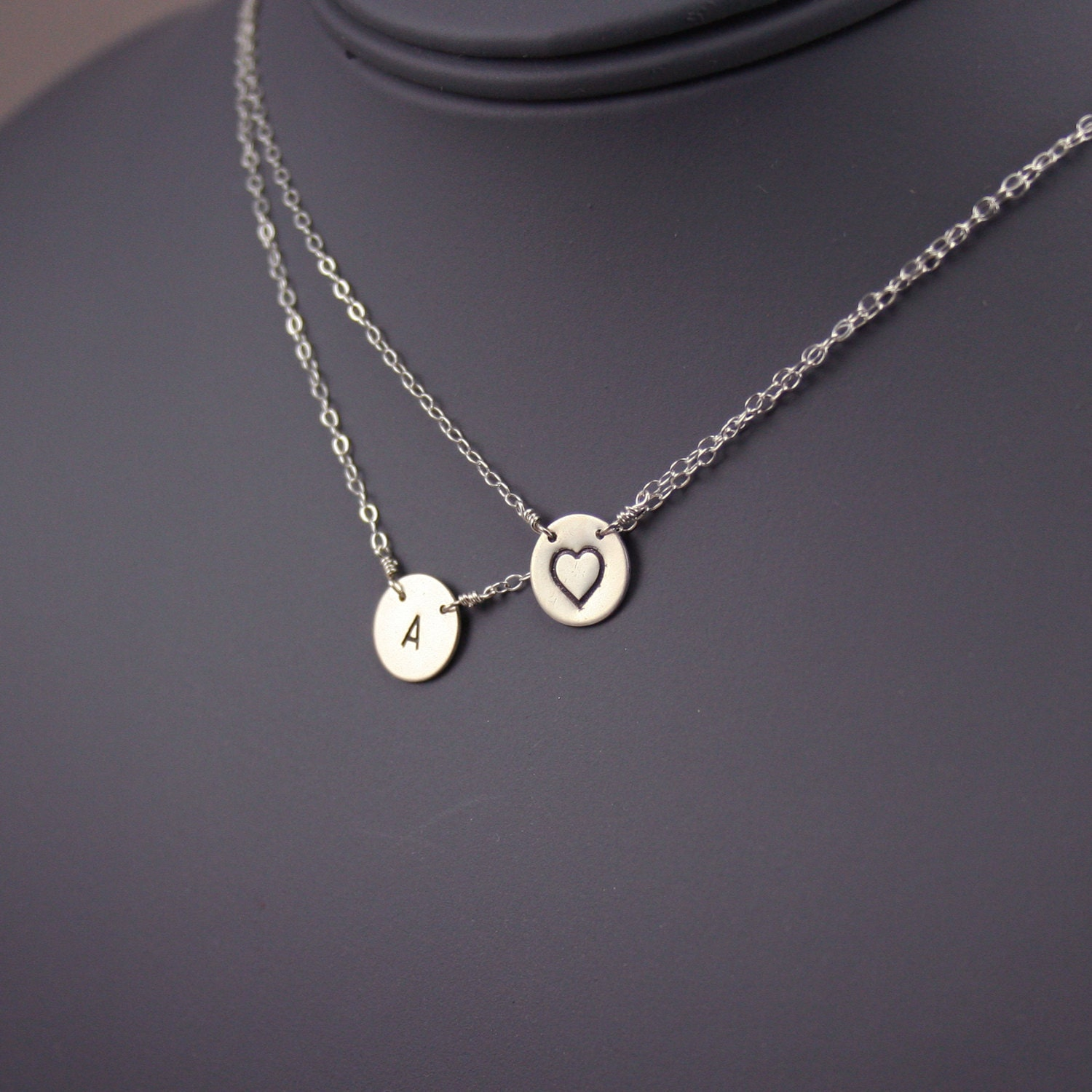 items similar to initial necklace layered disc