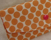 Clutch Wallet - Tangerine Orange Moon Dots