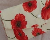 Clutch Wallet - Fabric - Red Poppies on Cream