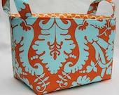 Fabric Organizer Storage Container Bin Basket -  Tangerine Orange and Turquoise Duck Egg / Acanthus