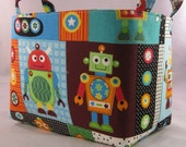 Fabric Organizer Container Storage Bin Basket - Fun Robots - Gearheads