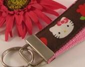 KEY FOB/ WRISTLET Keychain - Made with Hello Kitty Fabric - Flowers