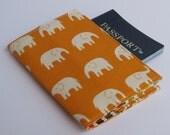 Passport Cover Case Holder - Cream Elephants on Tangerine Orange