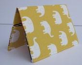 Passport Holder  Cover Case - Cream Elephants on Lemon Yellow