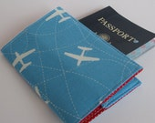 Passport Case Cover Fabric - White Airplanes on Blue