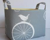Storage and Organization -  Fabric Basket Container Bin - Birdie Spokes in Gray/Grey