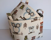 Fabric Organization Storage Organizer Container Bins Baskets - Hooty Owl - Natural - Set of 2 - Nesting