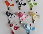 Pacifier or Toy Clip -  Chevron Zig Zag Fabric  - Choose the Color
