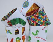 Mini Fabric Storage Organizer Bins Baskets - Made with Licensed Very Hungry Caterpillar Fabrics  - Set of 5