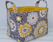Storage and Organization - Fabric  Basket Organizer Container Bin - Yellow and White Flowers on Gray