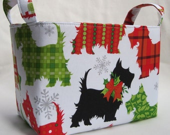 Fabric Organization Organizer Storage Container Bin Basket - Christmas Xmas Holiday Scotty Scottie Scottish Dogs